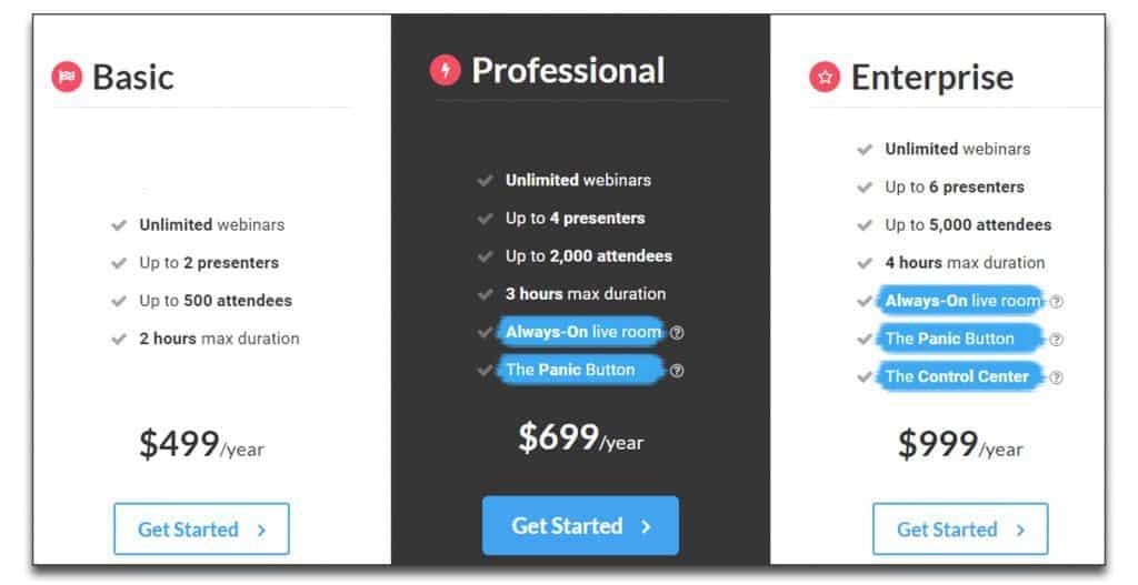 webinar jam pricing