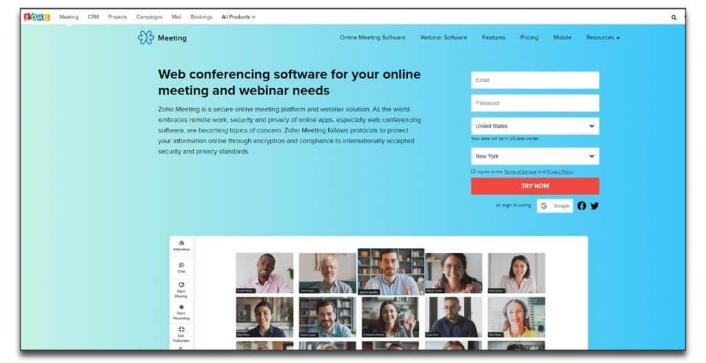 zoho meeting webinar