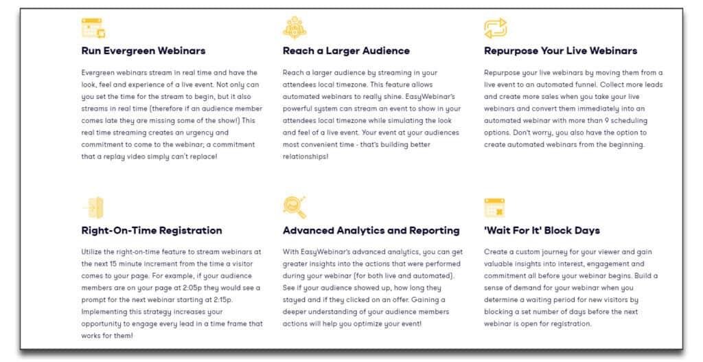 easywebinar automated webinar features