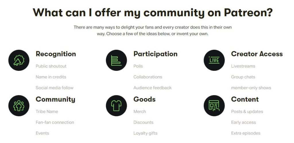 patreon tools and features