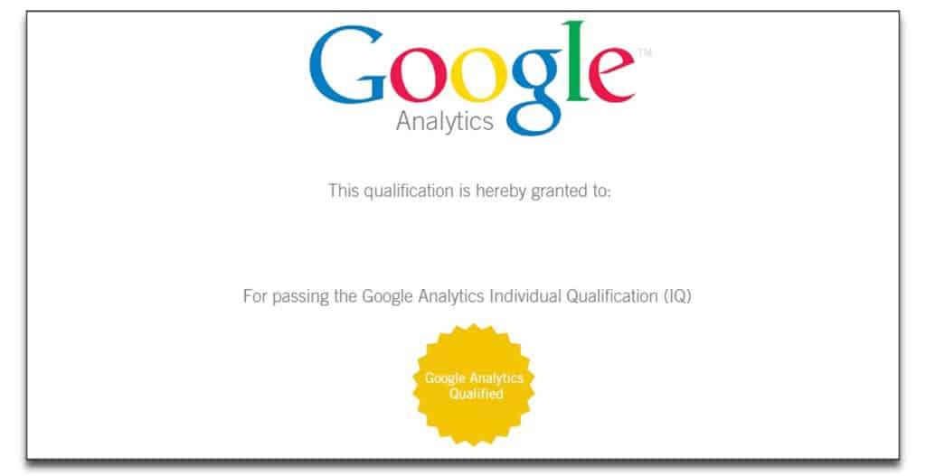 google analytics individual qualifications exam certificate 1