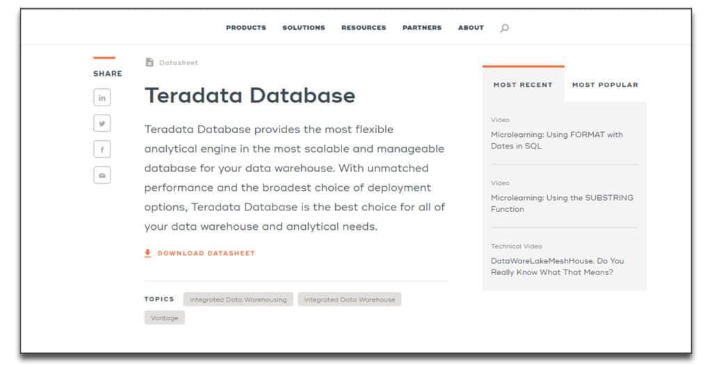 terradata database software